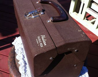 A Philson Crusty Brown Metal Tackle Box Spinner 4 With Fold Out Plastic Compartments And A Plastic Handle