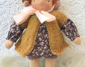 Waldorf doll (girl 11 inch). Handmade doll.