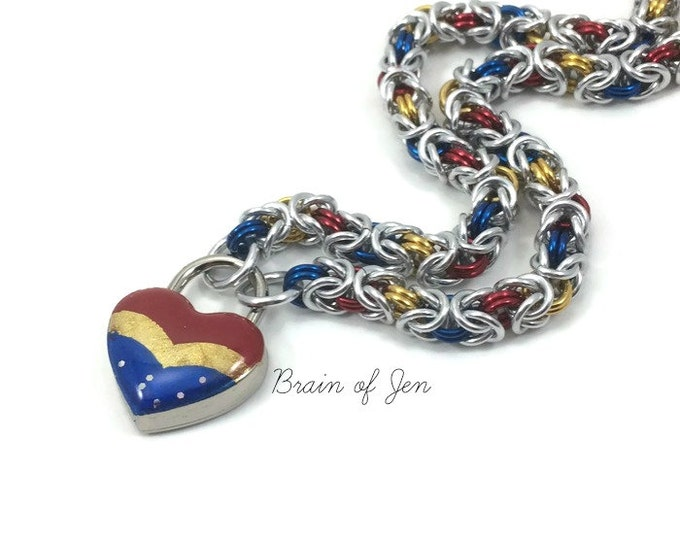 Submissive Day Collar Wonder Woman Inspired Slave Collar with Heart Lock