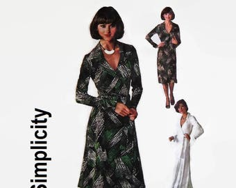Vintage 70's Sewing Pattern-Simplicity 7705-1970's Wrap Dress-Maxi or Short Dress with Pointed Collar and Tie Belt-Size 14 Bust 92 cm