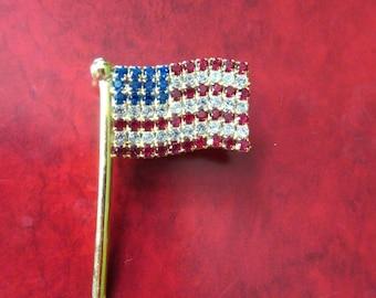 Rhinestone Flag Brooch Vintage Pin Costume Jewelry Red White Blue USA Patriotic Protest Republican Democrat MoonlightMartini