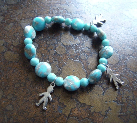 Boy oh Boy Blue Turquoise & Speckled Beaded Stretch bracelet