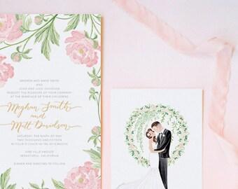 Wedding Invitation Beautiful Romantic Peony Floral Personalized