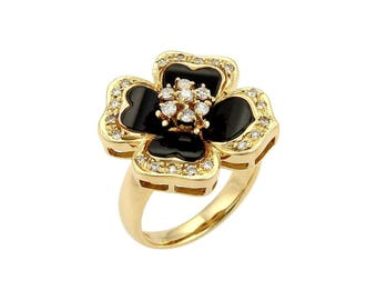 18267 - Diamond & Onyx Floral Ring in 18k Yellow Gold Size 6