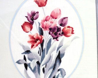TULIPS by Lena Liu Crewel Embroidery Kit Linen Fabric Wool Yarns