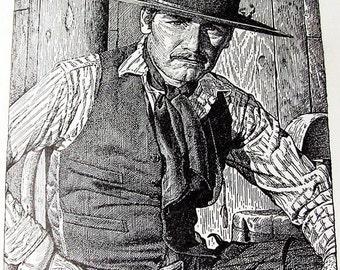 Trading card John McCormack cowboy illustration  book Shane 1954 Glossy print  black and white