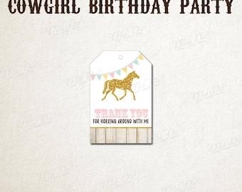 Cowgirl birthday favor tags,printable favor tags for pony birthday,pony favor tags,pony birthday gift tags,cowgirl birthday thank you tags