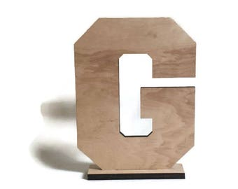 """Unfinished wood letters, 11"""" wood letters, choice letters, nursery, diy wood letter, standing letter, pedestal letter, unfinished letter"""