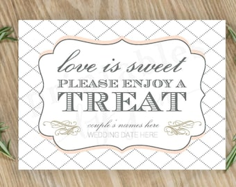 Candy Bar Sign  |  Editable DIY Printable  |  Love is Sweet Take a Treat | Cake, Blush, and Anvil Grey