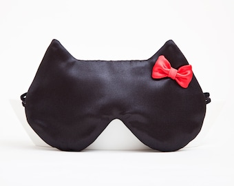 Satin Sleep Mask, Luxury Black Sleep Mask, Cat Lover Gift, Valentine's Day Gifts for Her, Girlfriend Gift, Travel Gifts for Women