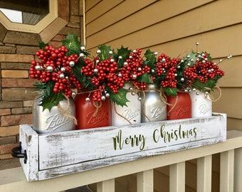 mason jar christmas centerpiece, christmas centerpiece, christmas decor, christmas wreath, mason jar christmas decor, merry christmas decor