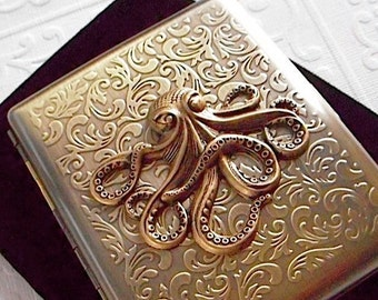 Brass Octopus Cigarette Case Big Case Antiqued Brass Metal Large Double Size Gothic Victorian Steampunk Style Vintage Inspired New