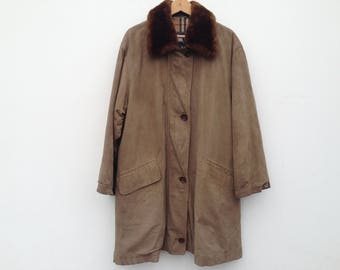 Burberrys | Vintage | 1980s | Trench coat | Suede | Fur collar | Leather | Wool lining | Classic Tartan
