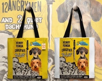Dachshund Art Tote Bag - 12 Angry Men Movie Poster   Perfect DOG LOVER Gift for Her Gift for Him