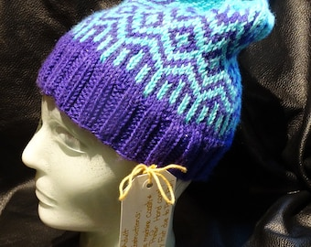 Handknitted Winter Hat 100% Hand Dyed Merino Wool  OOAK