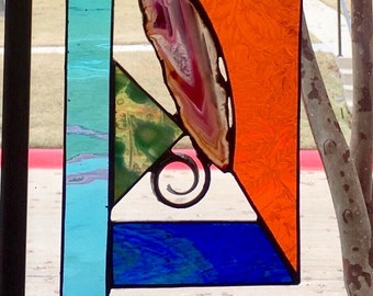 Stained Glas Suncatcher Abstract with Agate
