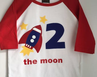 Rocket ship, spaced themed second birthday shirt. Two the moon, space birthday, rocket shirt, rocket ship shirt, rocketship birthday shirt