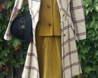 Vintage 1950's Long-Sleeved Belted Goldenrod Velvet Suit by Majestic, Size 12