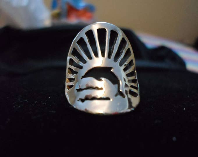 dolphin  sunburst ring quarter size