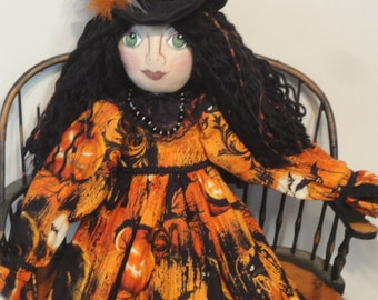 Witch Art Doll Halloween collectible witch OOAK witch for Halloween Cat themed fabric black and orange fabric by Morning Mist Designs