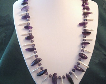 Necklace of Amethyst Stick Beads and Freshwater (Biwa / Keshi) Stick Pearls