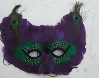 Elaborate and Ornate Halloween Mask made of Feathers from China