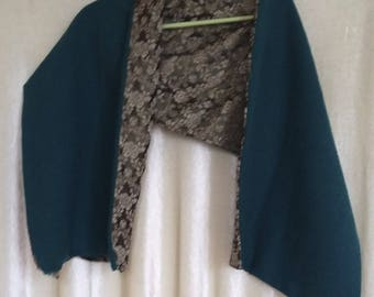 Scarf in cashmere wool turquoise double damask silk khaki floral antique gold and antique silver