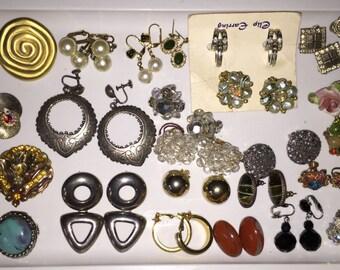 SALE Jewelry Job Lot Wholesale Vintage Earrings Collection 26 Pairs Earrings Designer Earrings Destash Jewelry Junk Drawer Collage