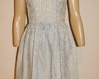 Vintage 60's Mid Century Blue Jacquard Mini Cocktail Dress by Minx Modes Sz 2/4