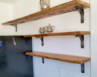 Rustic Open Kitchen Shelf, Live Edge Wood Shelf, Reclaimed Wood Shelf, Rustic Shelf, Natural Edge Shelf, Barnwood Shelf, Cabin Mantel Shelf