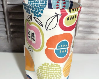 Wastebasket car trash can, use anywhere, crafting, thread catcher, laminated cotton fabric, waterproof, wipe clean, WASTIE, Apples print
