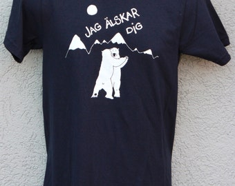 Men's Polar bear shirt, Swedish Jag Älskar Dig, (I Love you) screen printed by hand on American Apparel navy tee