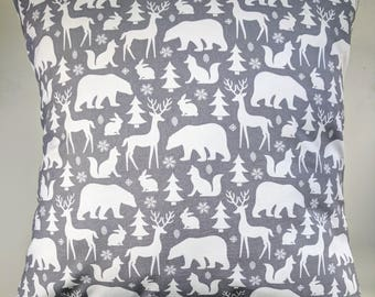 Grey Winter Animals Cushion Cover 16""