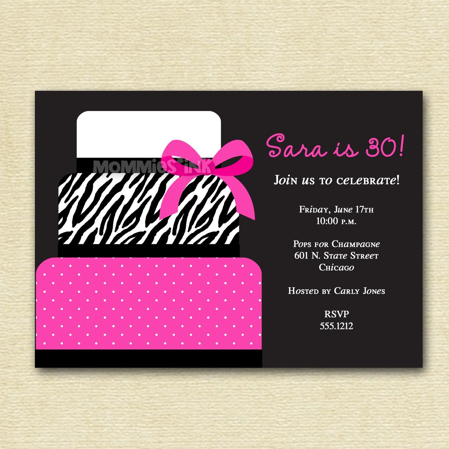 Pink Zebra Print Girls 1st Birthday Invitation: Chic Pink And Zebra Print Cake Birthday Party Invitation