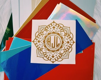 Intricate Detailed Mandala Monogram Custom Window Car Decal Sticker