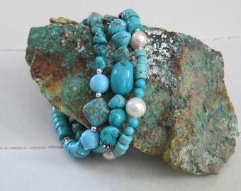 Triple Gemstone Bracelet // Turquoise // Amazonite // Garnet // Pearl // Sterling Silver