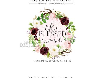 Wreath Logo, Boutique Logo, Round Logo, Floral Logo, Watercolor Logo, Business Logo, Premade Logo, Custom Logo Design, Floral Wreath