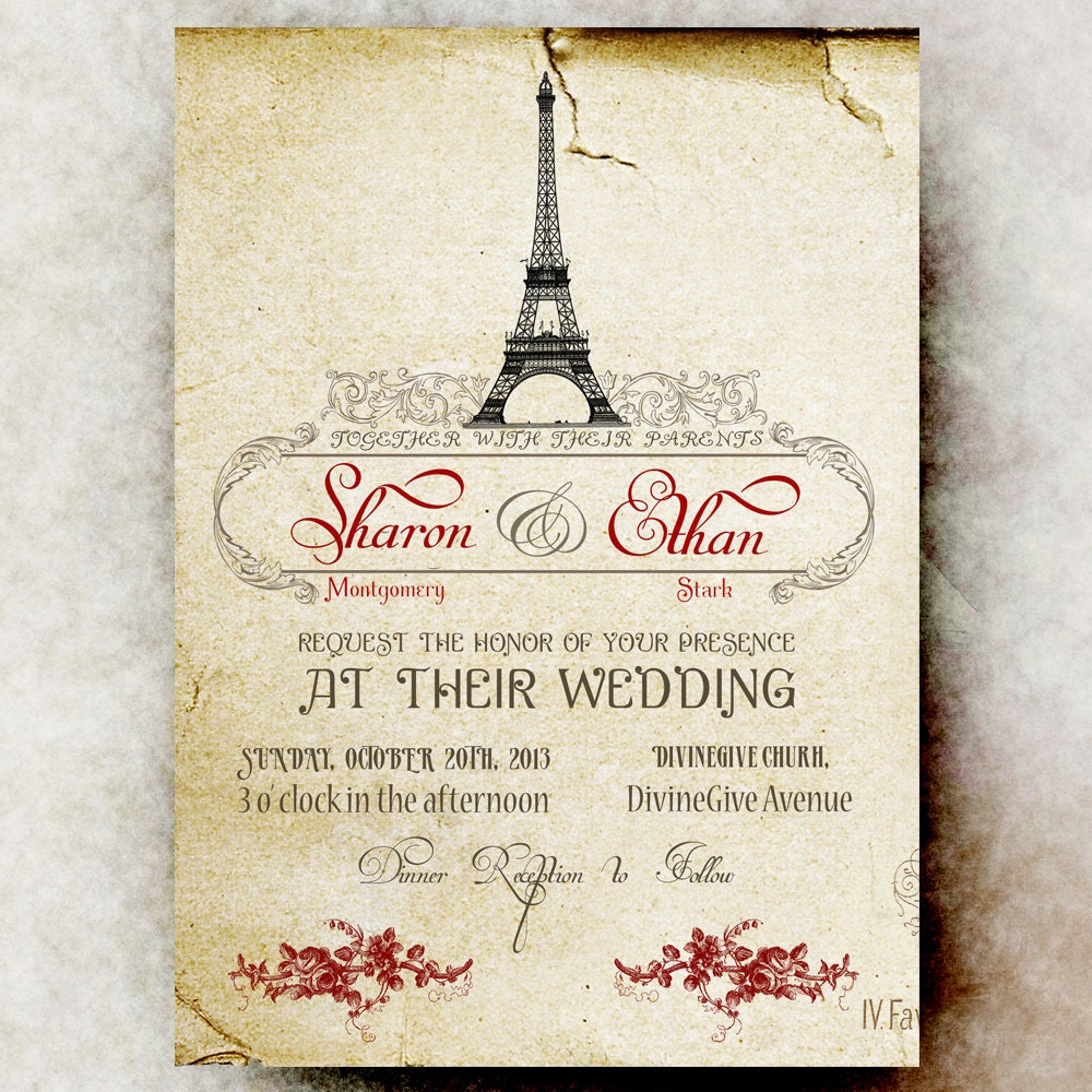 Vintage Paris Wedding Invitation Vintage Paris Background