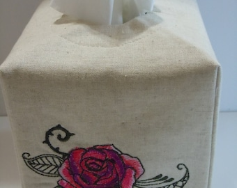 Custom - Made To Order - Embroidered Essex Natural Linen Tissue Box Cover - Tat - Rose