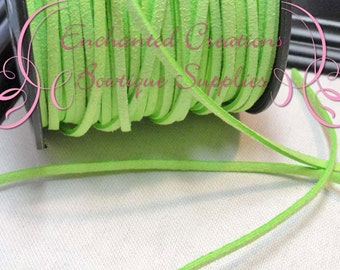 3mm Lime Green Suede Faux Leather Flat Cord 5 yards Bracelet Making, Necklace Cord, DIY Jewelry Cord, Jewelry String