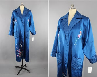 1950s Vintage Royal Blue Satin Robe / Embroidered Dressing Gown / Floral Embroidery / 1950s Wedding Lingerie / 1950 Loungewear