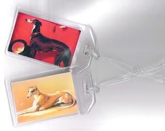 Set of 2 Greyhound Luggage Tags - Vintage Altered Art Greyhound or Whippet Dog