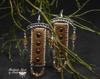 Ethnic, Brown, light pink and Silver earrings