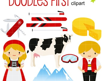 Swiss Alps Digital Clip Art for Scrapbooking Card Making Cupcake Toppers Paper Crafts