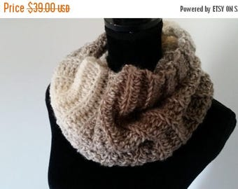 ON SALE Infinity Scarf - Scottish Inspired Scarf, Beige Scarf, Cowl Scarf, Claire Infinity Scarf, Scarves for Women, Crochet Handmade,