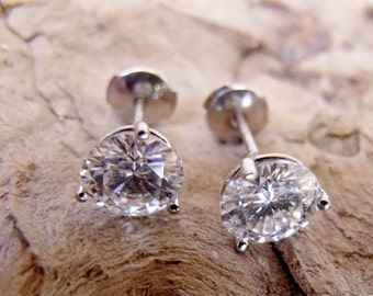 14K Gold Stud Earrings 3 Prong - 1.5 Carats Total weight of Round Forever brilliant Moissanite Stones LJ1008