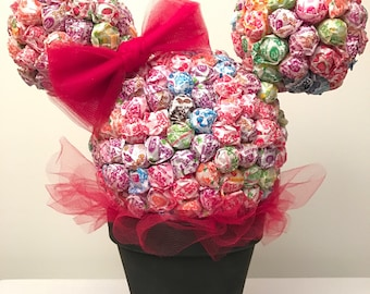 Minnie Mouse Dum Dums Centerpiece on a Black Base with Candy Ears  Birthday, Disney, Candy Table, Dum Dum, Candy, Party, Birthday Party