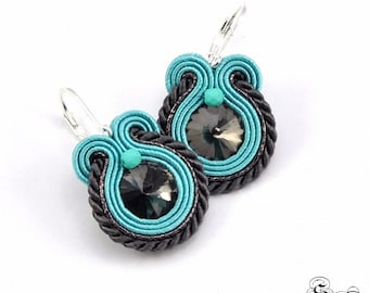 Small Soutache Earrings, Small Turquoise Dangle Soutache Earrings, Gray Soutache Earrings, Soutache Jewelry, Turquoise Orecchni Soutache