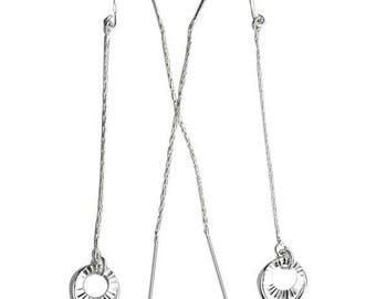 Two rings ear thread sterling silver threaders earrings