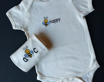Organic Bodysuit - Gender Neutral - Lightweight Ribbed Cotton - Screened 2-Sides - BEE HAPPY or ABC on Front - Bee on Back - Size 12-18 M